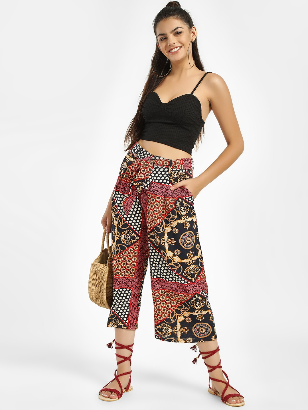 Missi Clothing Red Scarf Print Belted Culottes 1