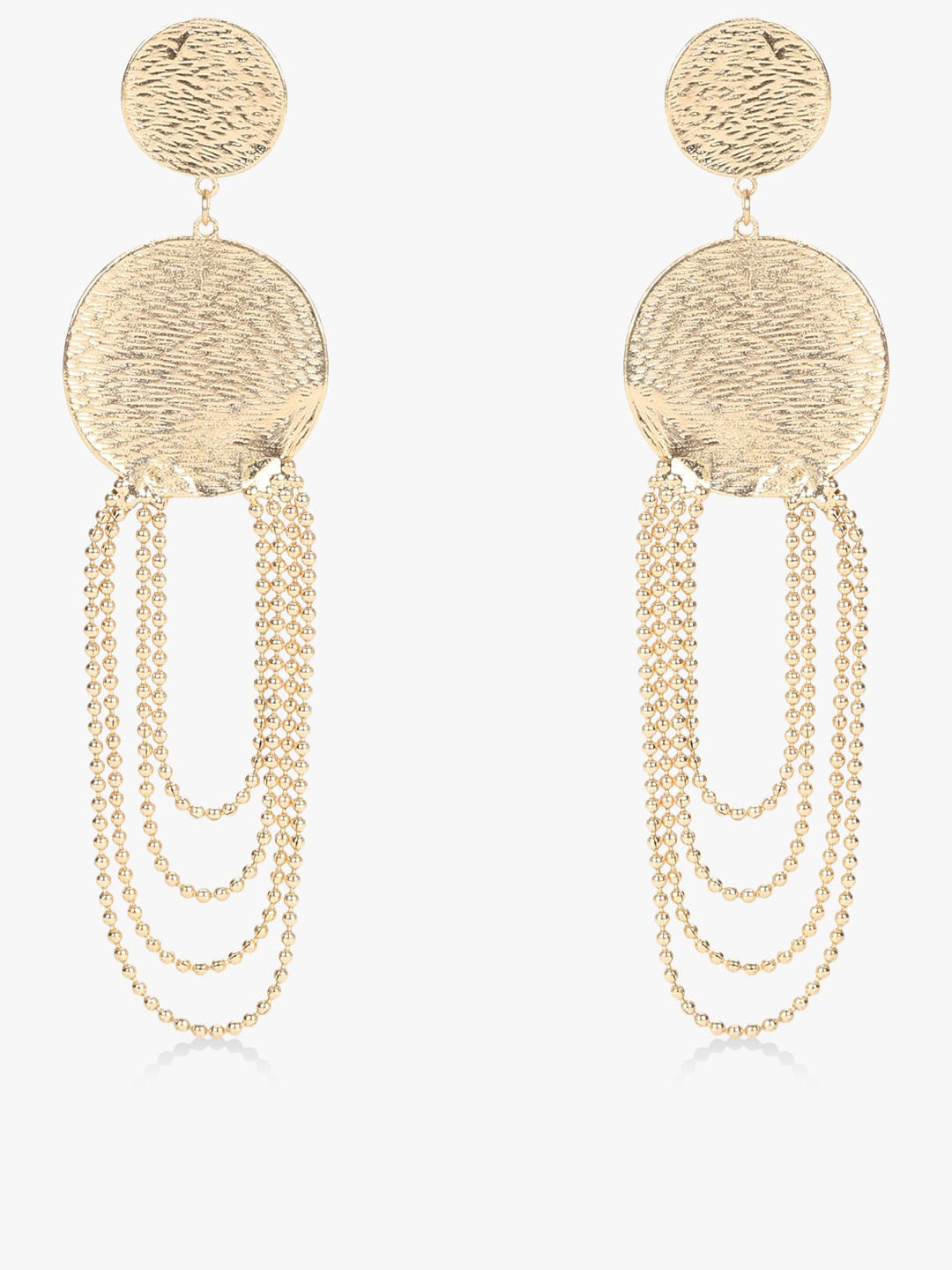 Blueberry Gold Circle Chain Detail Earrings 1