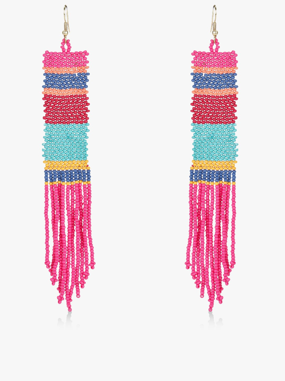 Blueberry Multi Beaded Tassel Drop Earrings 1