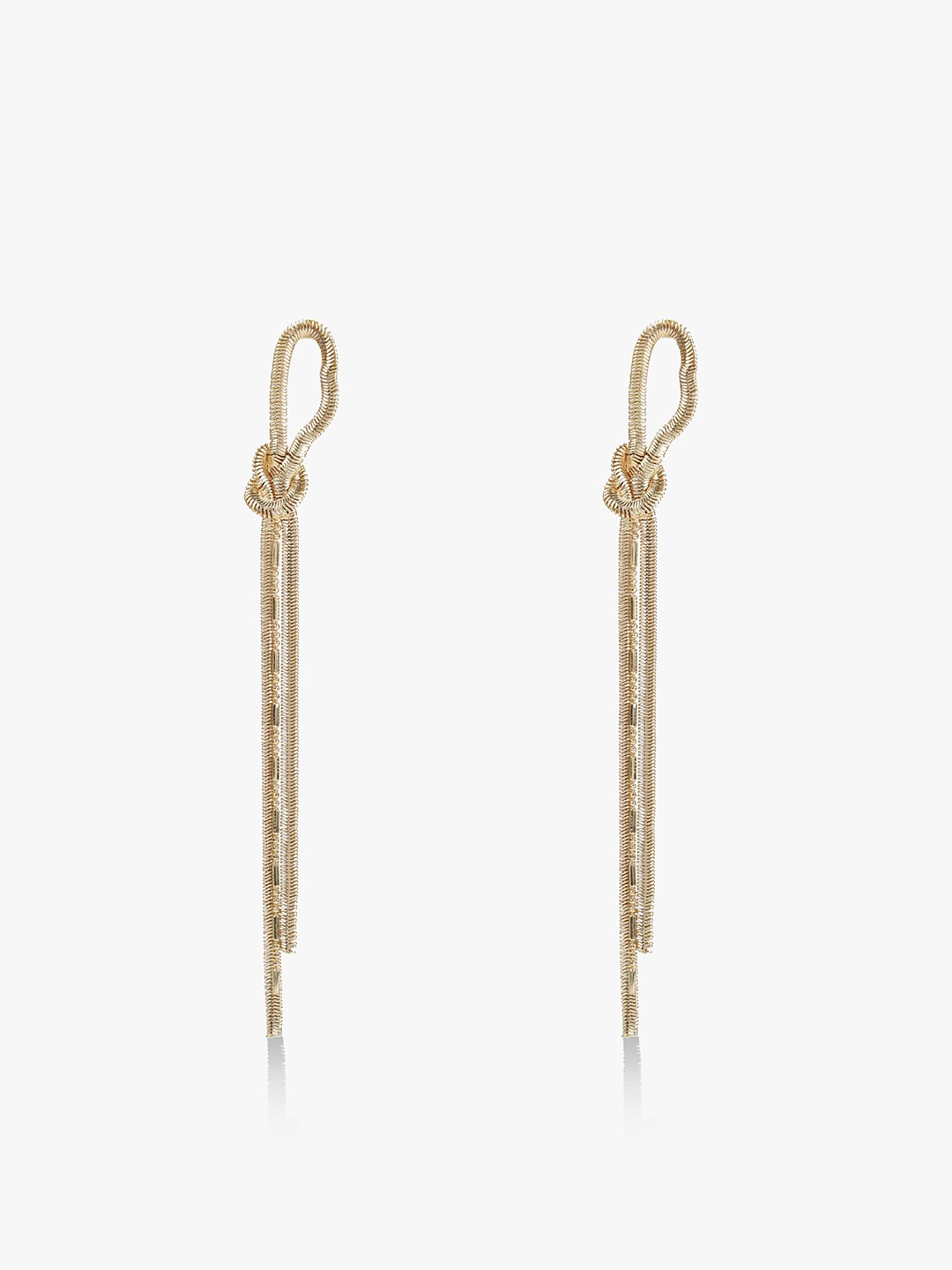 Blueberry Gold Knot Detail Long Chain Earrings 1