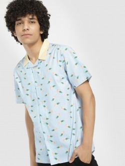 KOOVS Pineapple Print Cuban Collar Shirt