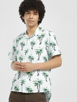 KOOVS Tropical Palm Print Cuban Shirt
