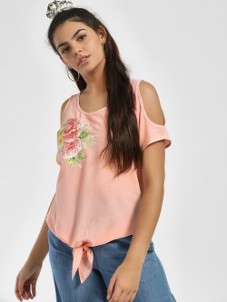 Jealous 21 Floral Print Cold Shoulder Top