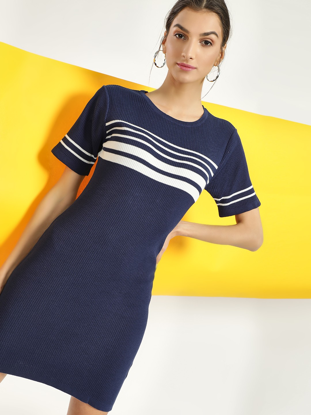 SCULLERS FOR HER Navy Striped Front Ribbed Shift Dress 1