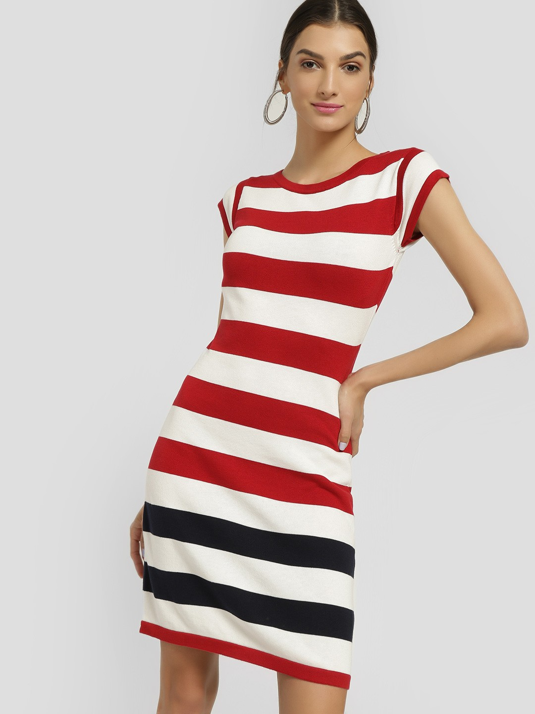 SCULLERS FOR HER White Ribbed Horizontal Stripe Shift Dress 1