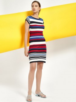 SCULLERS FOR HER Knitted & Striped Bodycon Dress