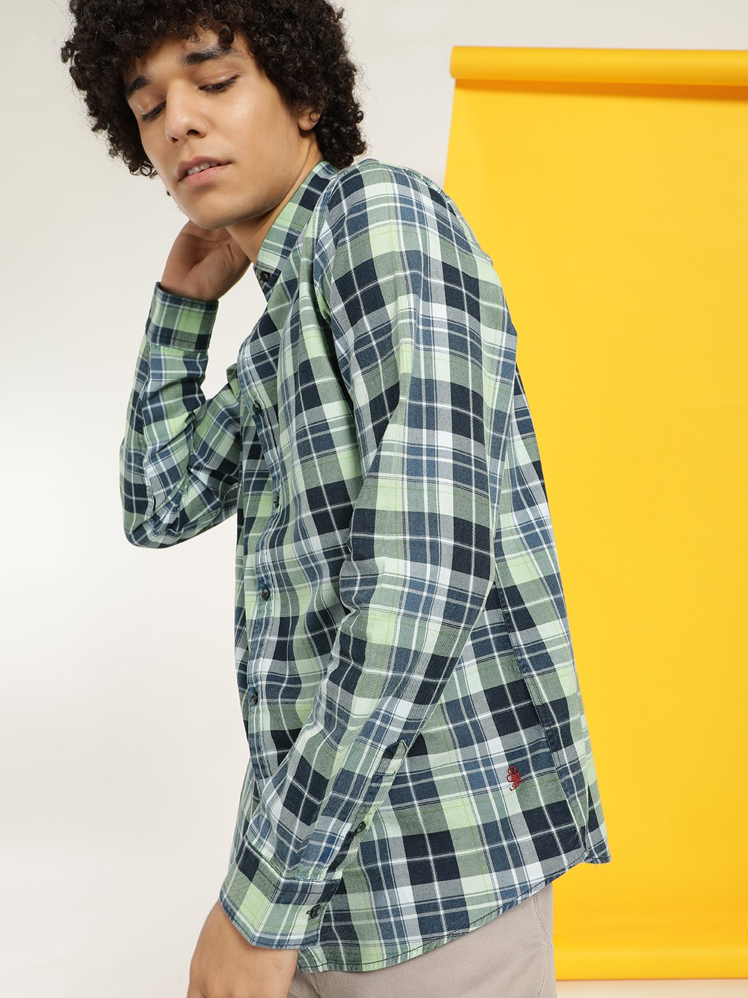 Being Human Green Multi-Check Long Sleeve Shirt 1