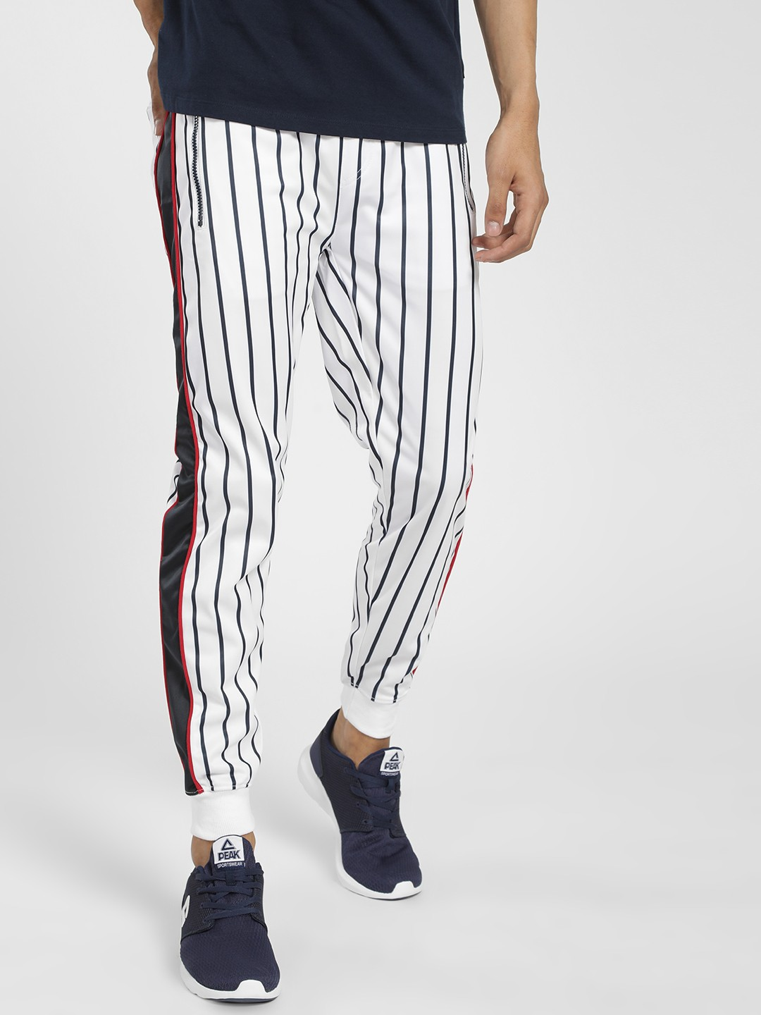 Soulstar White Vertical Stripe Side Tape Joggers 1