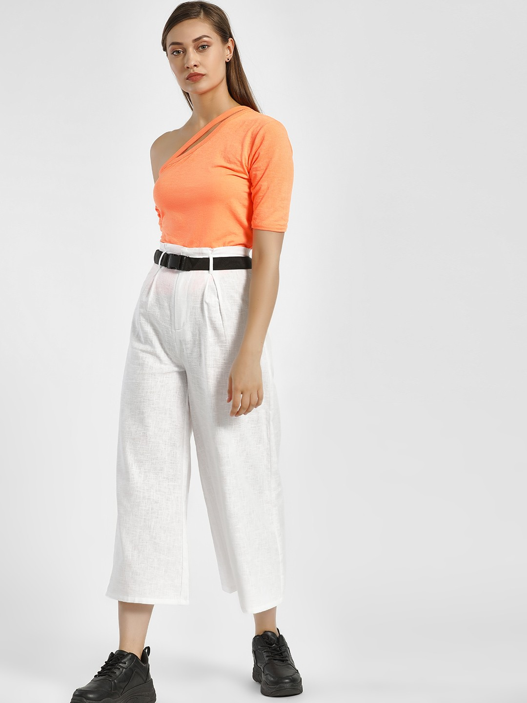 KOOVS White High Waist Flared Trousers 1