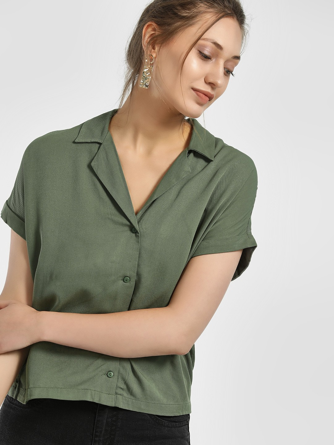 Only Green Revere Collar Casual Cropped Shirt 1