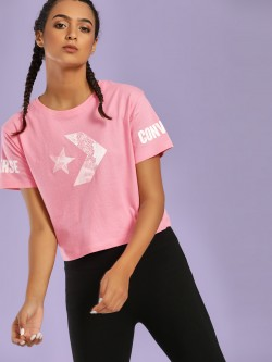Converse Mesh Rubberised Logo Crop T-Shirt