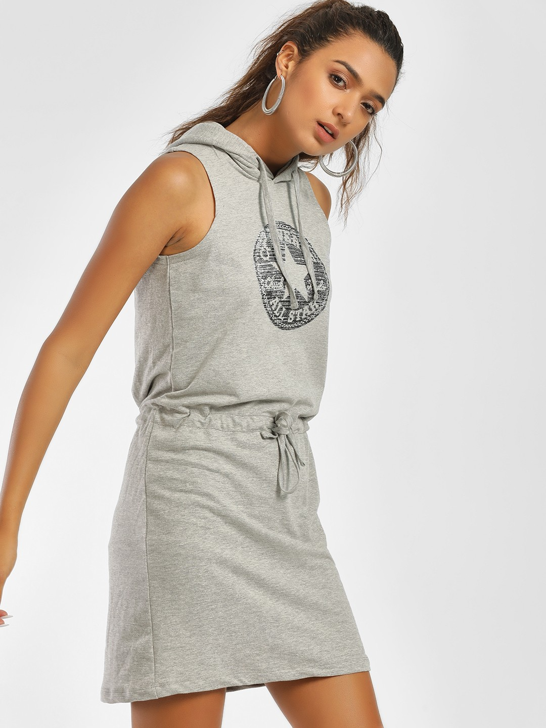 Converse Grey Metallic Star Logo Hoodie Dress 1