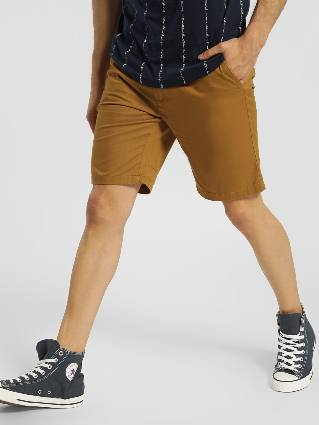 D-Struct Brown Basic Slim Fit Shorts 1
