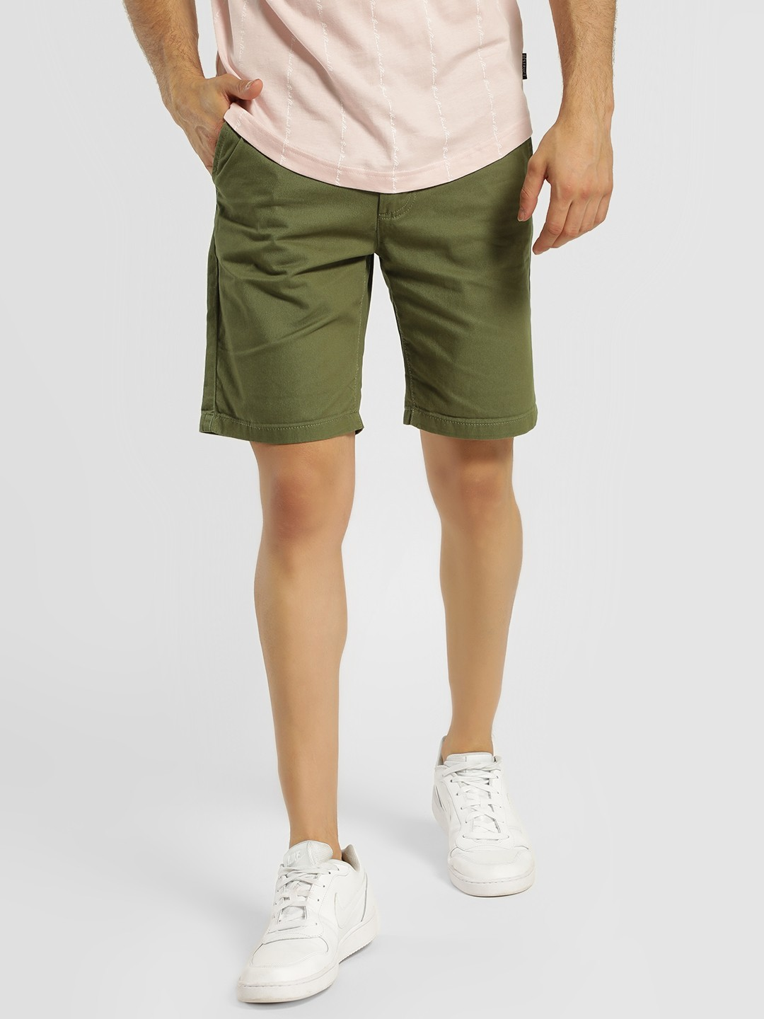 D-Struct Green Basic Slim Fit Shorts 1