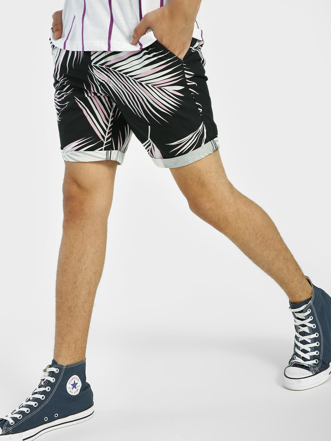 D-Struct Black Palm Leaf Print Shorts 1