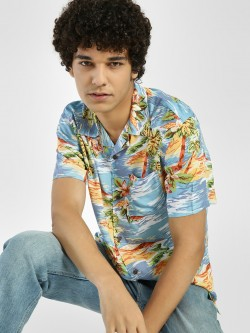 D-Struct Tropical Island Print Cuban Collar Shirt