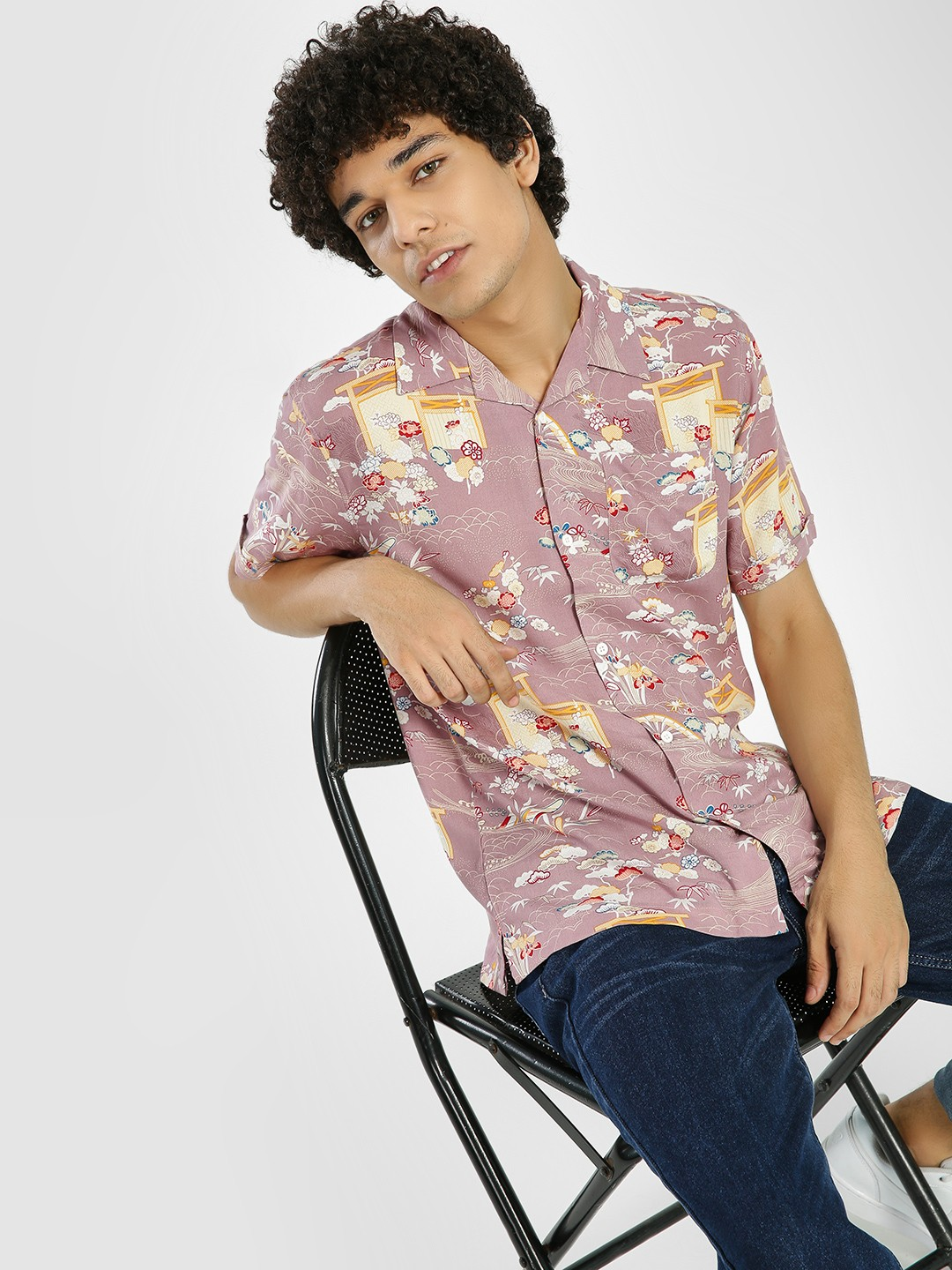 D-Struct Pink All Over Print Cuban Collar Shirt 1