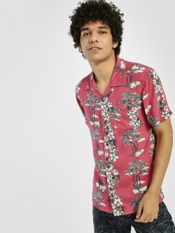 D-Struct Hawaiian Print Cuban Collar Shirt