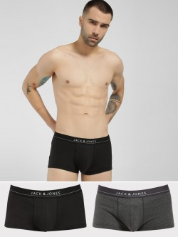Jack & Jones Waistband Logo Print Trunks (Pack Of 2)