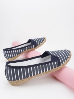KOOVS Stripe Jute Braided Canvas Ballerinas