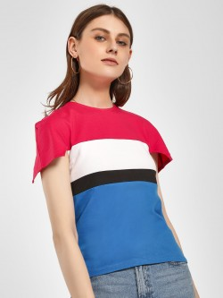 Beyond Clouds Colour Block Slim Fit T-Shirt