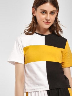 Beyond Clouds Colour Block Crop T-Shirt