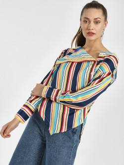 Beyond Clouds Multi-Stripe Asymmetric Hem Shirt