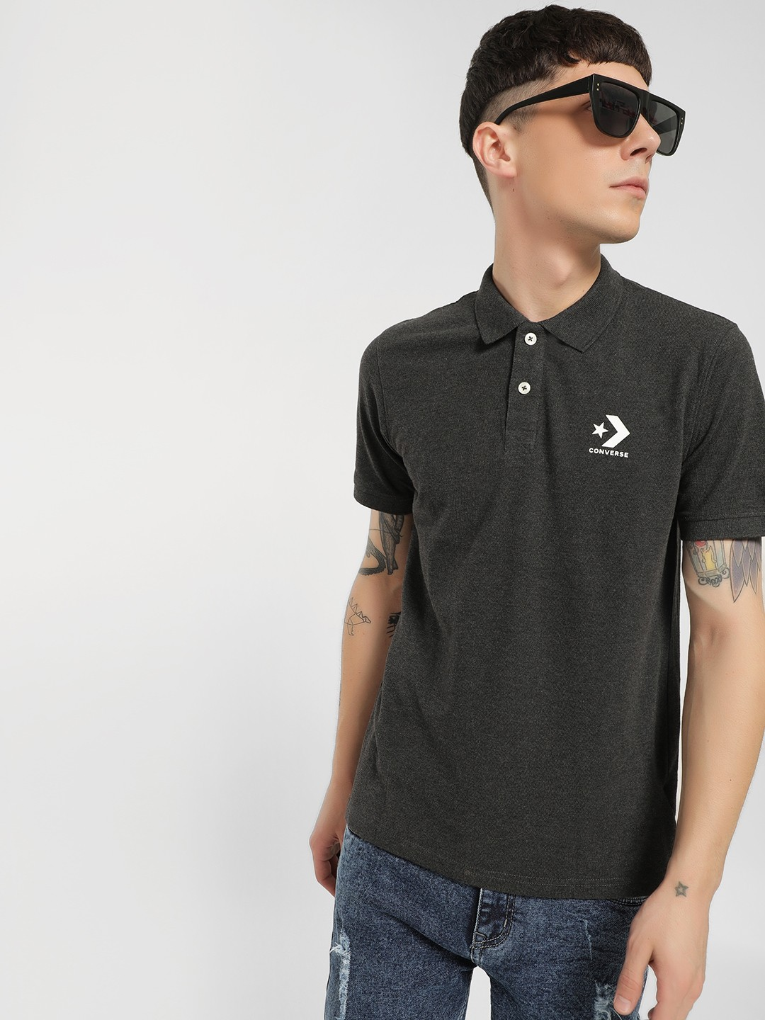 Converse Grey Rubberised Logo Polo Shirt 1