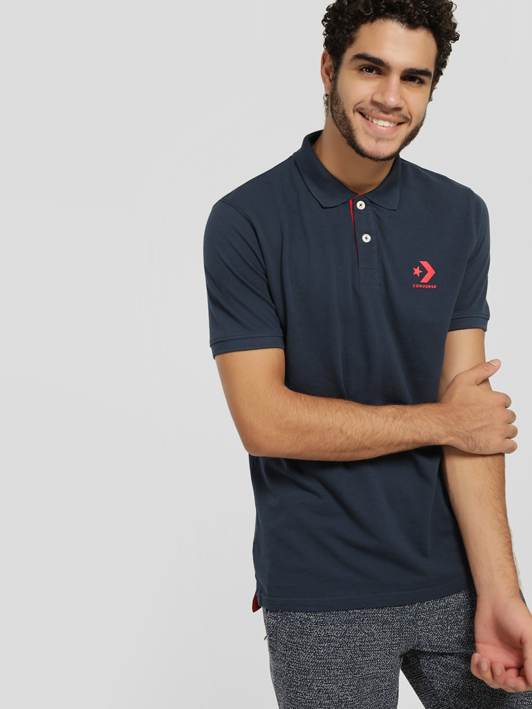Converse Blue Rubberised Logo Polo Shirt 1