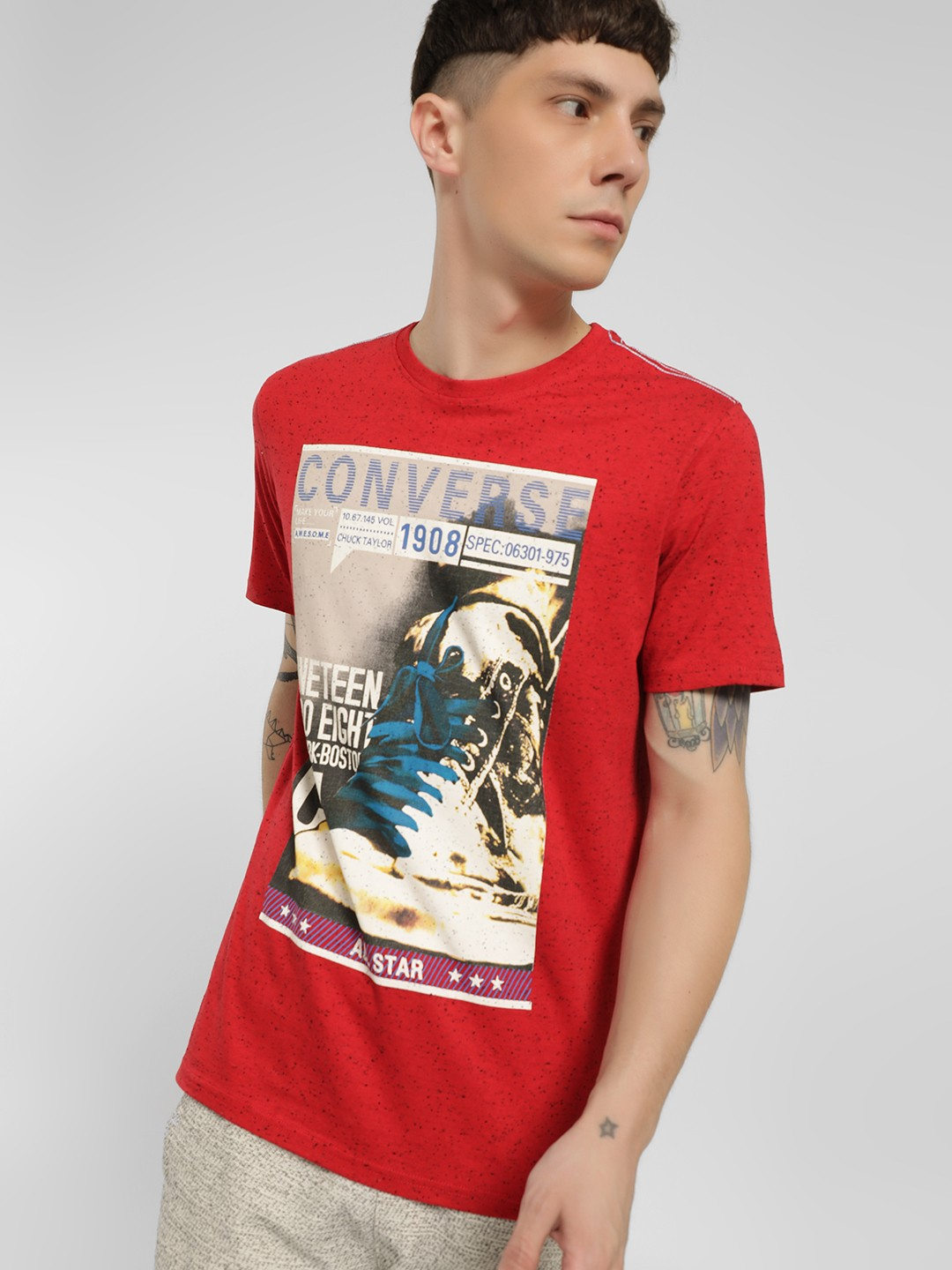 Converse Red Graphic Placement Print T-Shirt 1