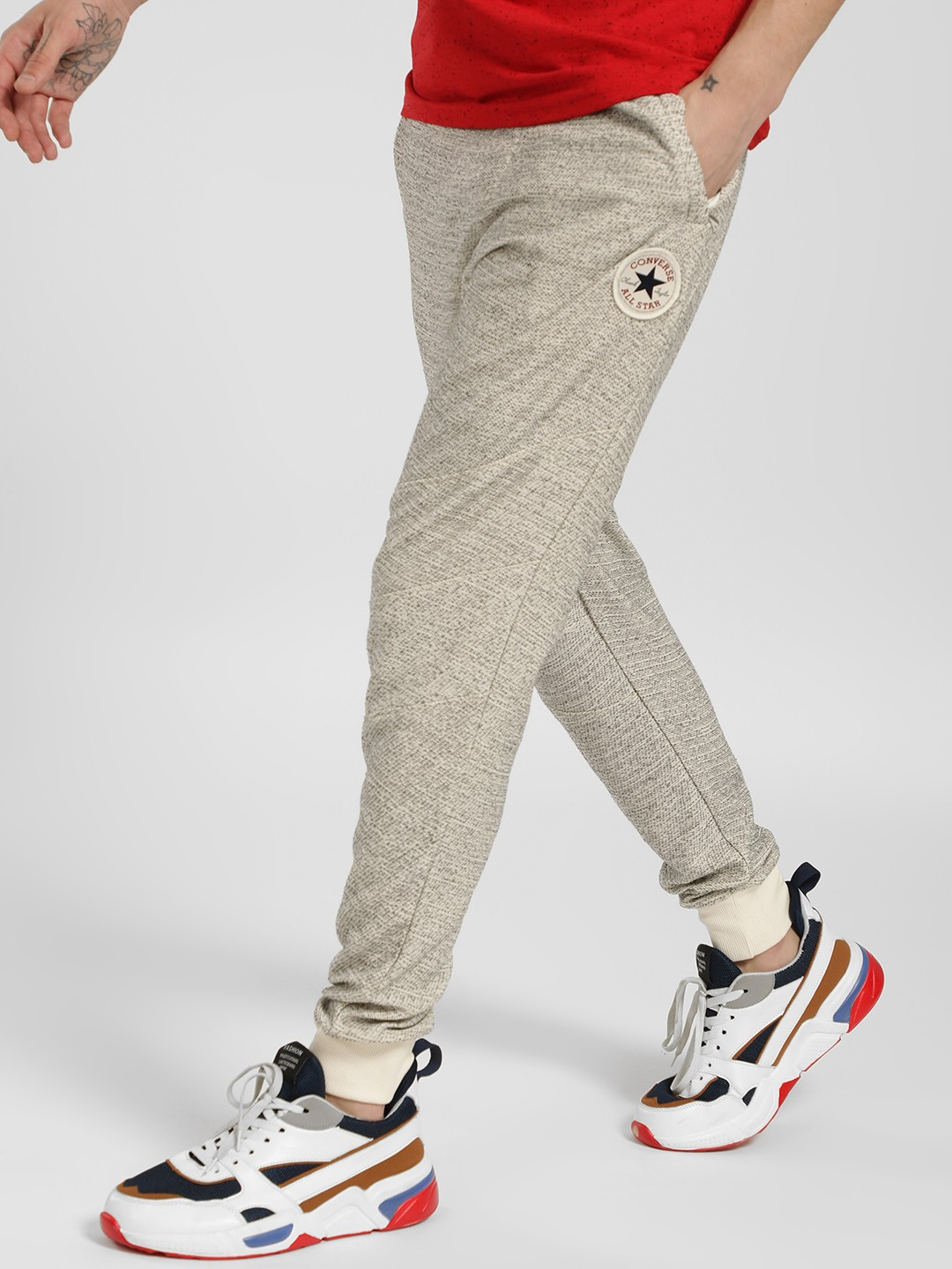 Converse Black Logo Badge Knitted Joggers 1