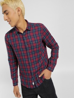 Indigo Nation Yarn Dyed Tartan Check Casual Shirt