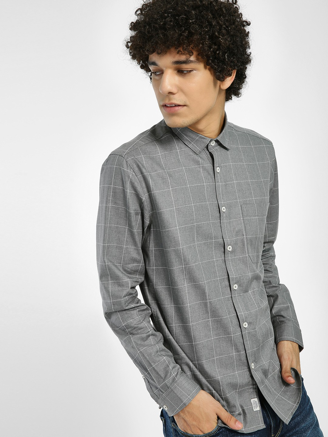 Indigo Nation Grey Windowpane Check Patch Pocket Shirt 1
