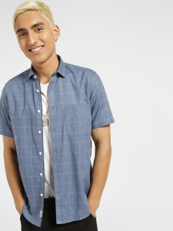 Indigo Nation Short Sleeve Windowpane Check Shirt