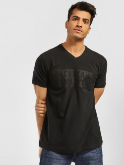 Indigo Nation V-Neck Slogan Embossed T-Shirt