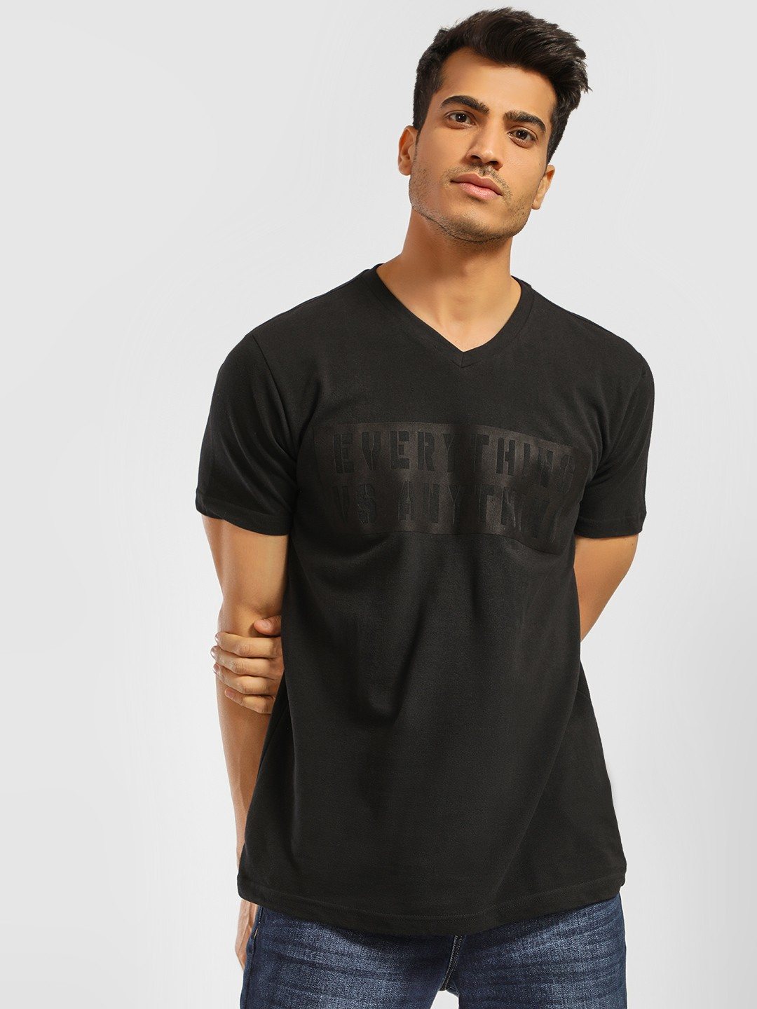 Indigo Nation Black V-Neck Slogan Embossed T-Shirt 1