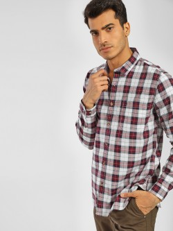 Indigo Nation Long Sleeve Multi-Check Print Shirt