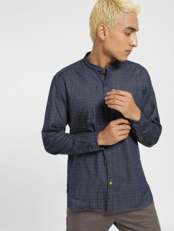 Indigo Nation Printed Chambray Slim Fit Shirt
