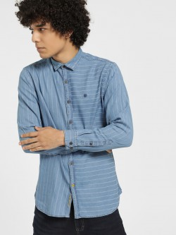 Indigo Nation Horizontal Stripe Casual Shirt