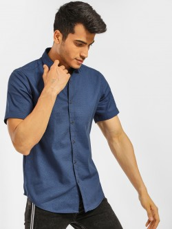 Indigo Nation Short Sleeve Dobby Print Shirt