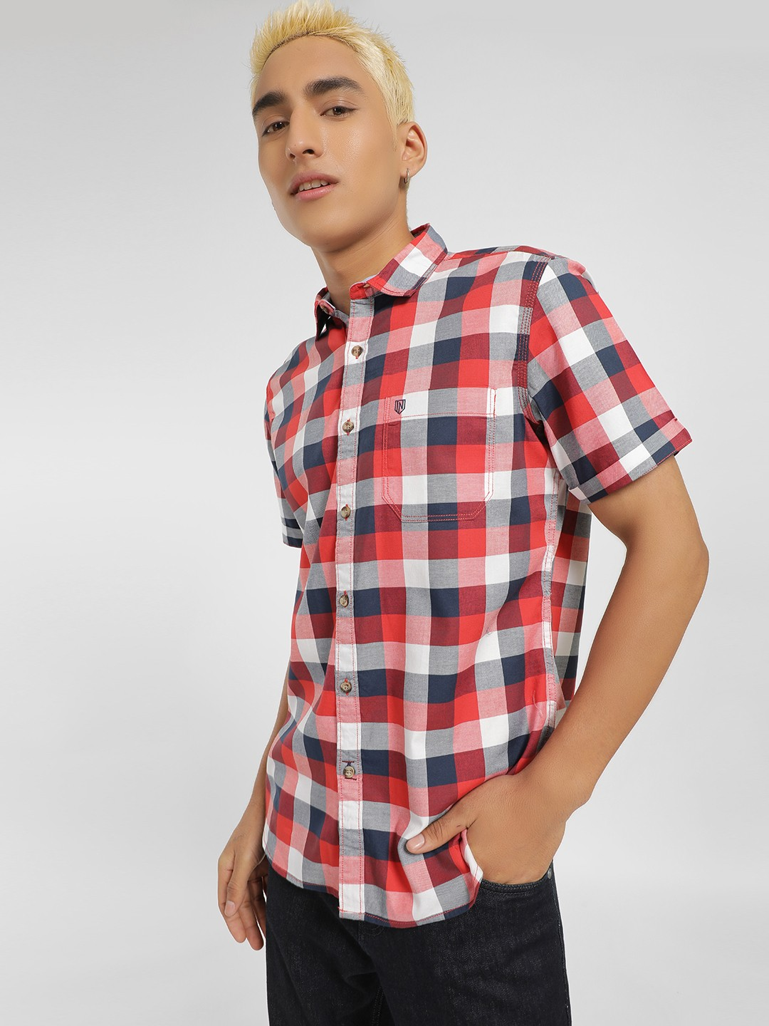 Indigo Nation Red Buffalo Check Short Sleeve Casual Shirt 1