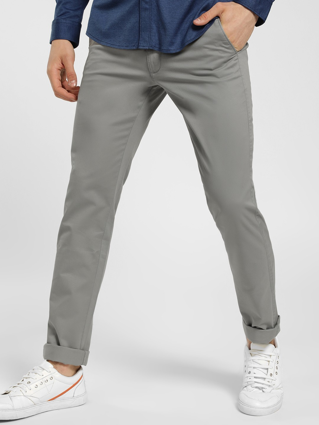 SCULLERS Grey Basic Slim Fit Trousers 1
