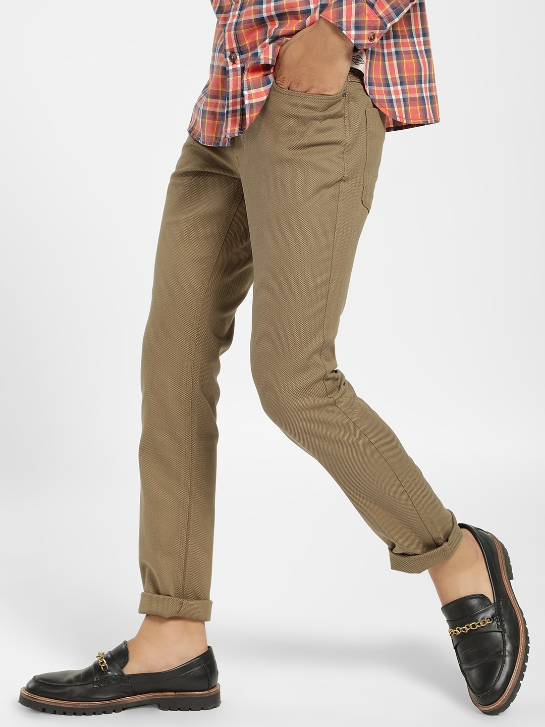 SCULLERS Green Basic Slim Fit Trousers 1