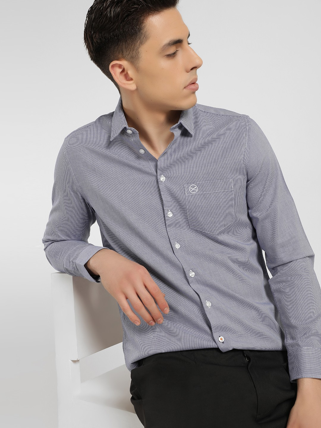 SCULLERS Blue Dobby Slim Fit Shirt 1