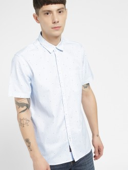 SCULLERS Star Print Short Sleeve Casual Shirt
