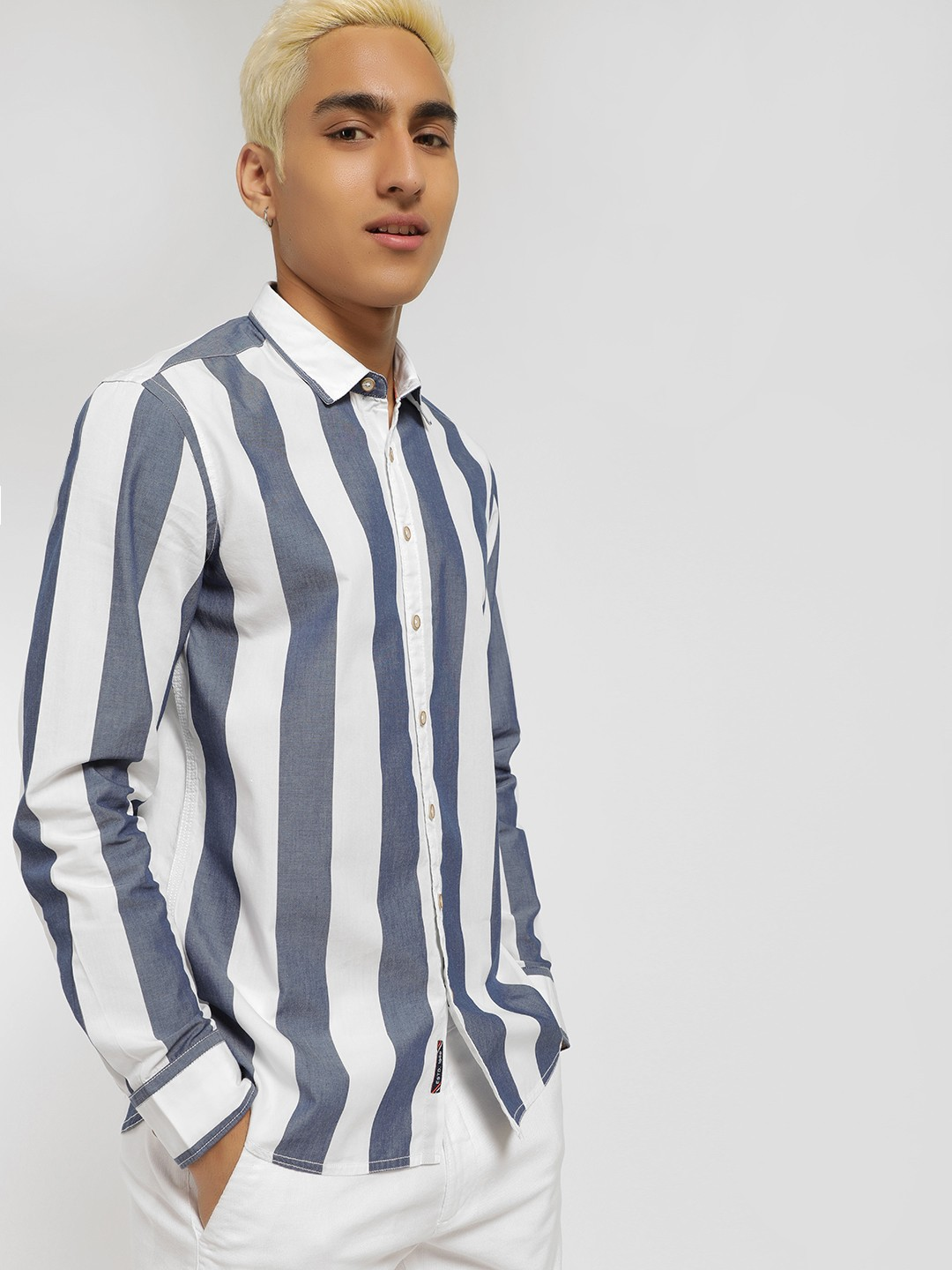 SCULLERS Blue Long Sleeve Stripe Shirt 1