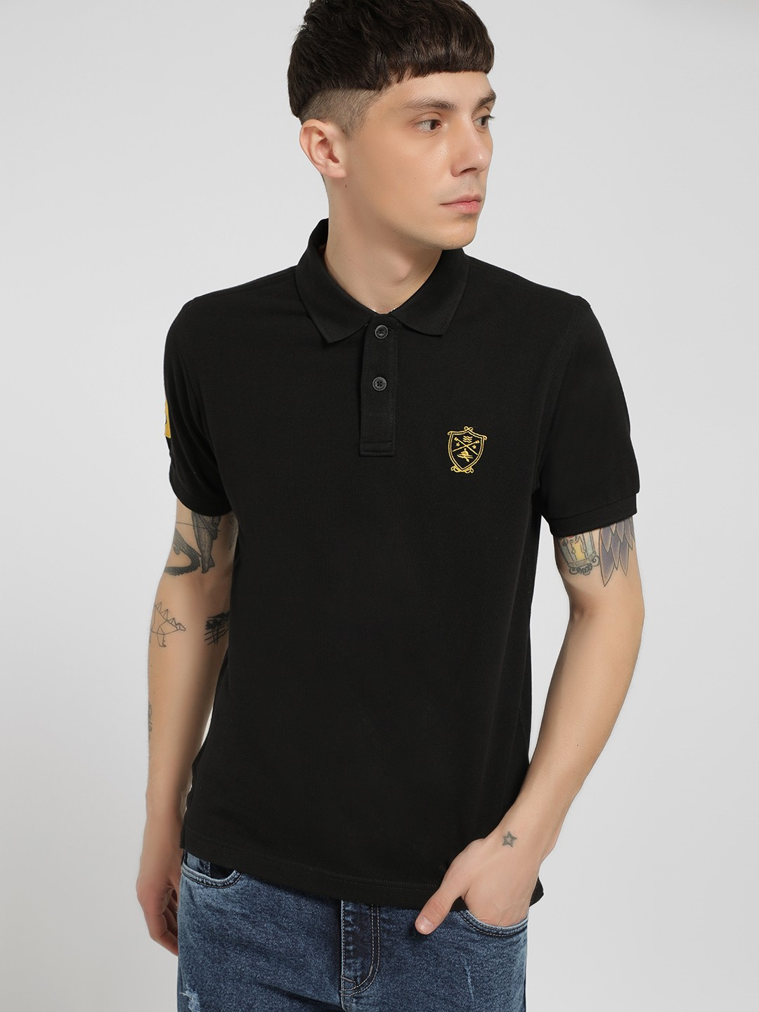 SCULLERS Black Basic Polo Shirt 1