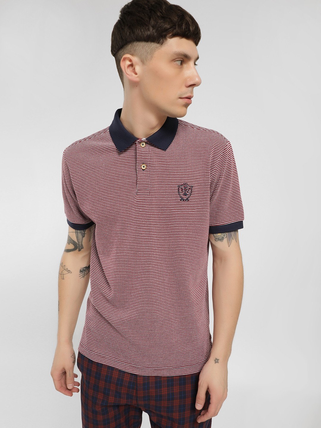 SCULLERS Brown Textured Short Sleeve Polo Shirt 1