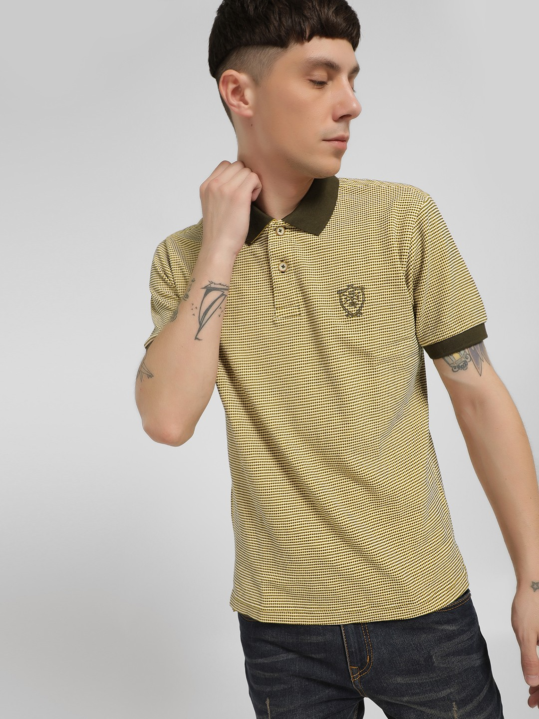 SCULLERS Green Textured Short Sleeve Polo Shirt 1