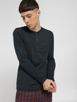 SCULLERS Basic Henley Neck T-Shirt